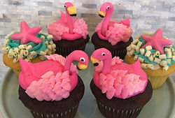Flamingo and Starfish Cupcakes