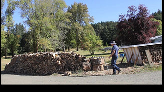 chopping wood in morning