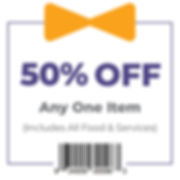 Coupon - 50% Off Any One Item (includes