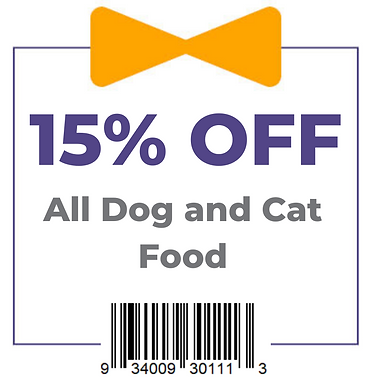 Coupon - 15% Off Dog and Cat Food Graphi