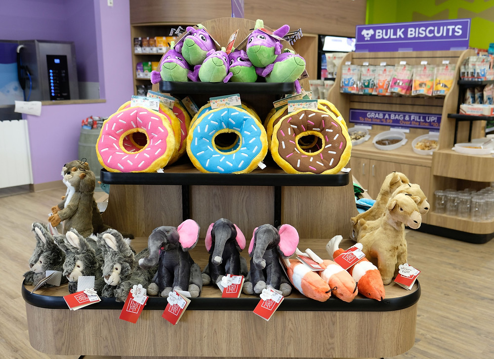 Assortment of toys at the DOGPerfect Lakewood Ranch location.