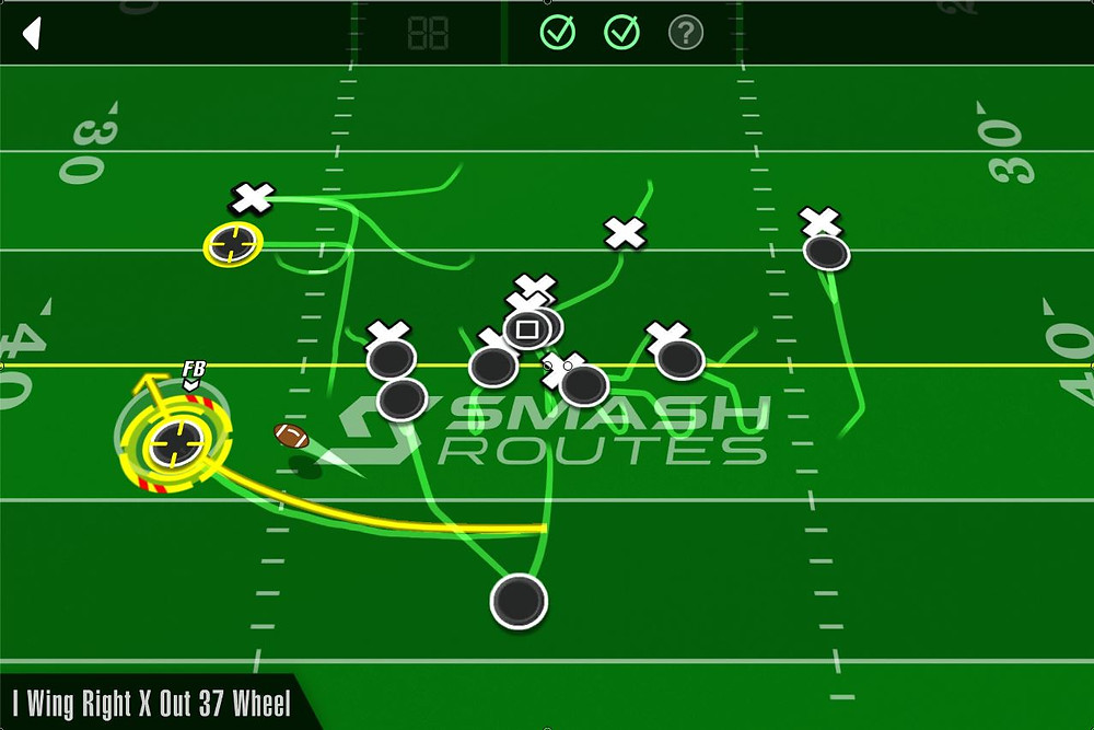 SMASH Routes - Playbook Trial - I Wing Right X Out 37 Wheel - Mid-play action shot