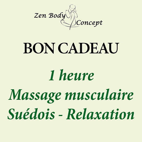 1h00 Massage musculaire Suédois - Relaxation