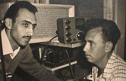 מאיר אשל ודני ביין באולפן הרדיו