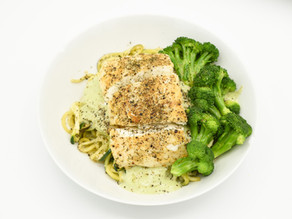Candida Friendly Coconut Lime Poached Halibut with Zoodles & Creamy Avocado Basil Sauce