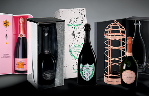 Des bouteilles de Champagne élégamment habillées et conditionnées dans un emballage chic !