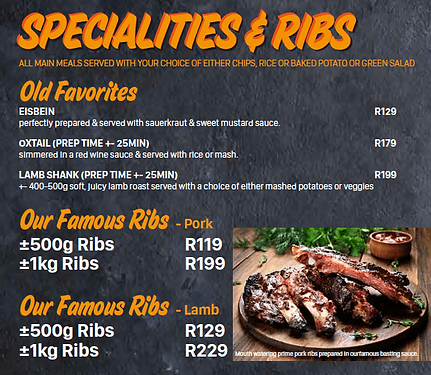 House of Ribs Menu