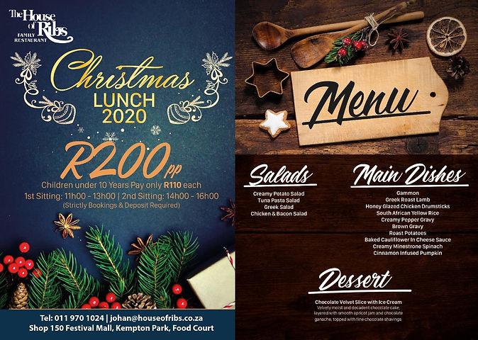 House of Ribs Christmas 2020 Menu