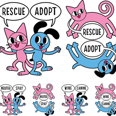 Logos and mascots for Yakima Valley Pet Rescue. These were printed on shirts and sold as a fundraiser for homeless pets in need.