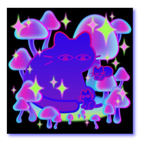 Mushroom Cat Sticker