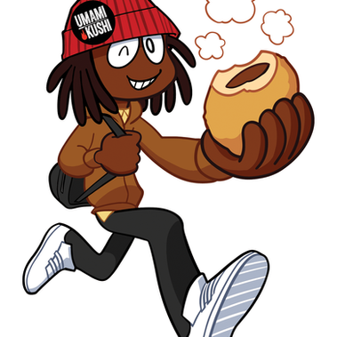Afropanman, a mascot character created for Umami Kushi's Okazu Pan (curry bread).