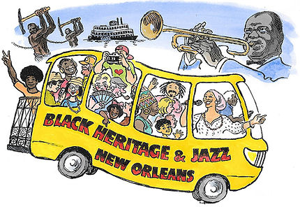 Black Heritage & Jazz Tour New Orleans. African-American Heritage and Jazz of New Orleans. Bus tour, Treme, Louis Armstrong, story of slavery.