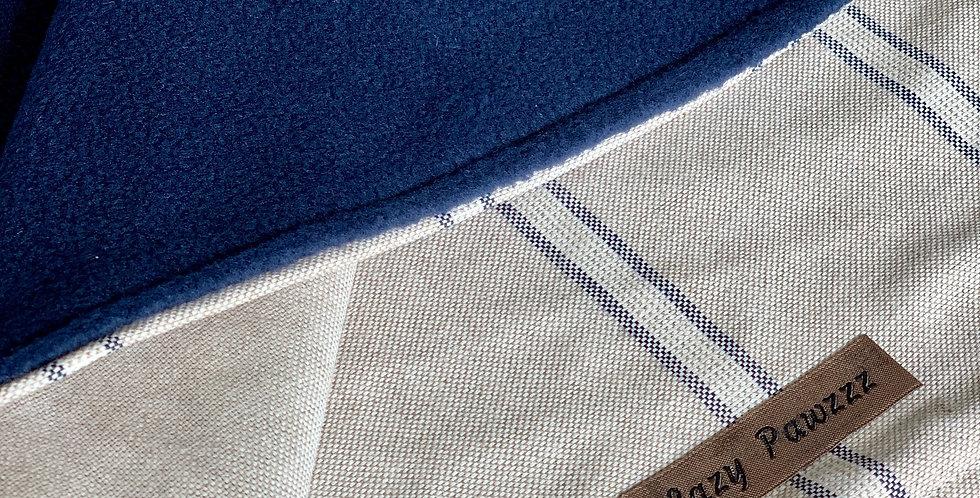 Navy stripe fleece blanket