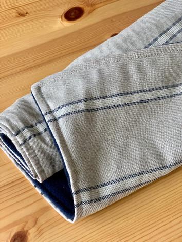 Navy Stripe fleece lined blanket