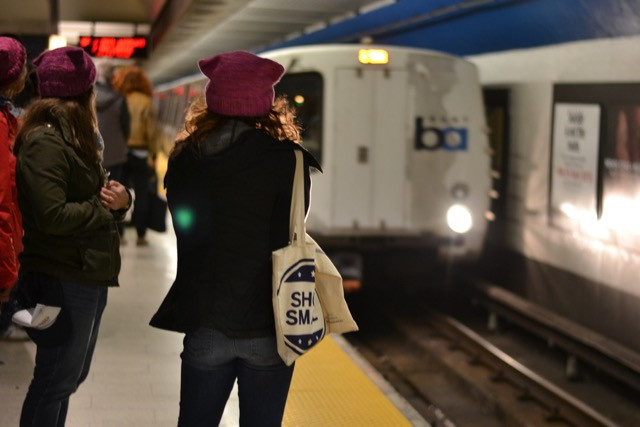 Pink Hats on BART