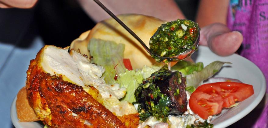Grilled chicken, green salad