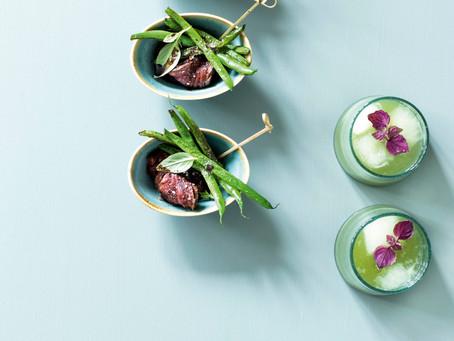 「シェリーソースの煮込みをかけていただくグリルステーキとインゲンのソテー」BO BEDRE 2020年8月号