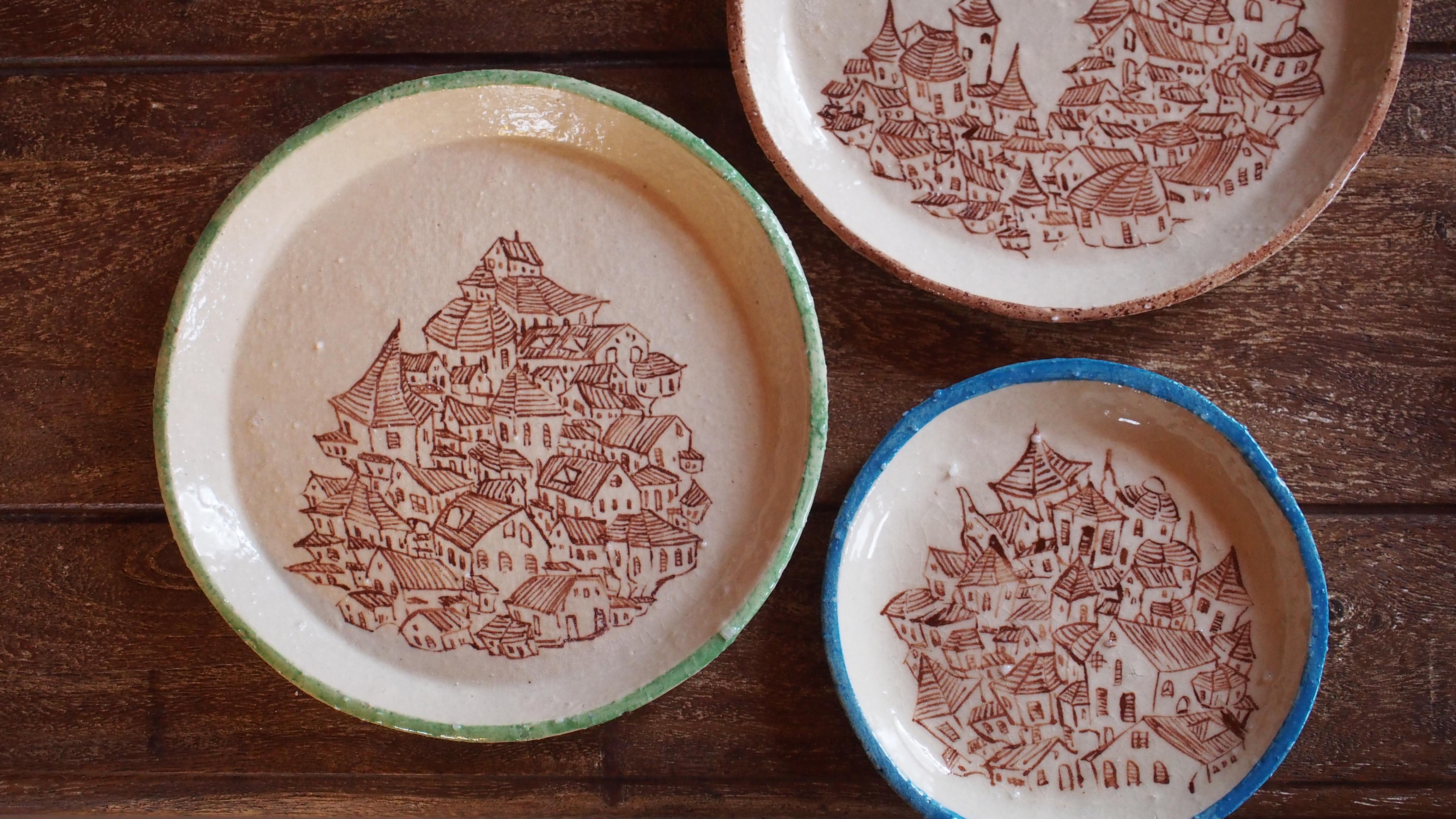 街並みの絵皿