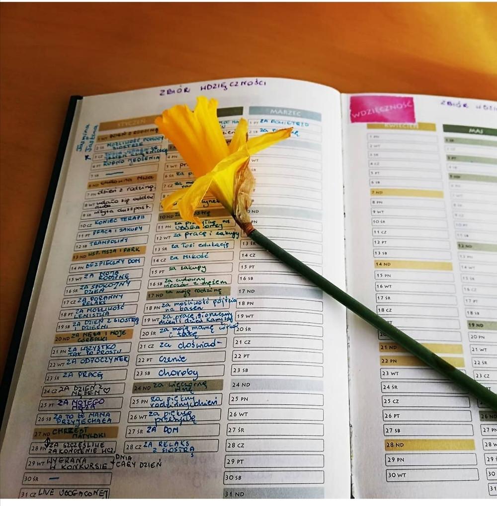 Kalendarz Kobiety pomagający w praktykowaniu wdzięczności