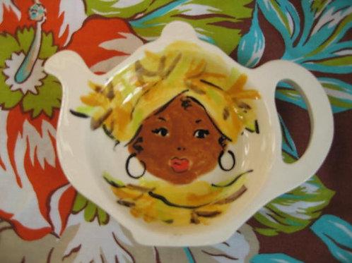 African Queen tea bag holder