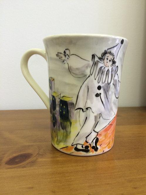 Pierrot Hand-Painted Mug