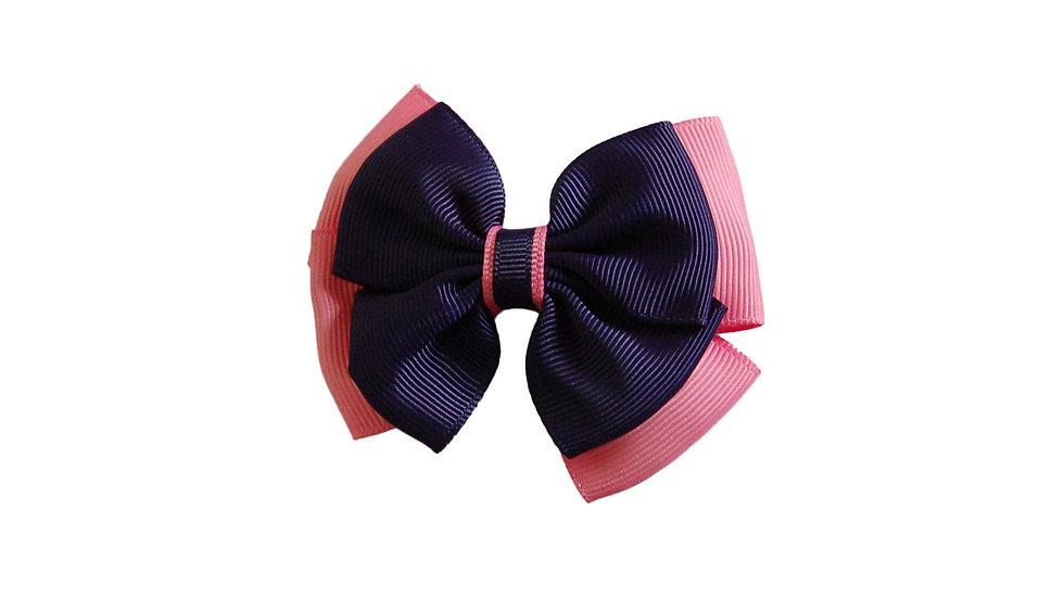 School hair clip royal navy pink