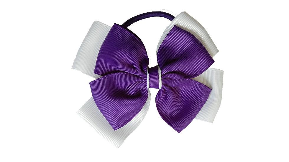hair bobble purple white