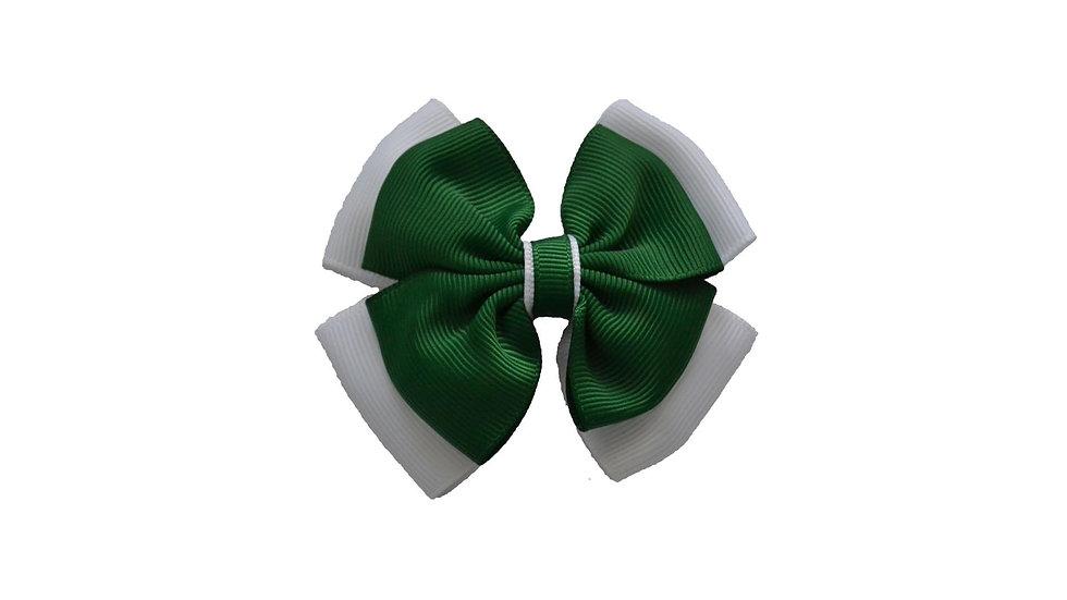 School hair clip green white