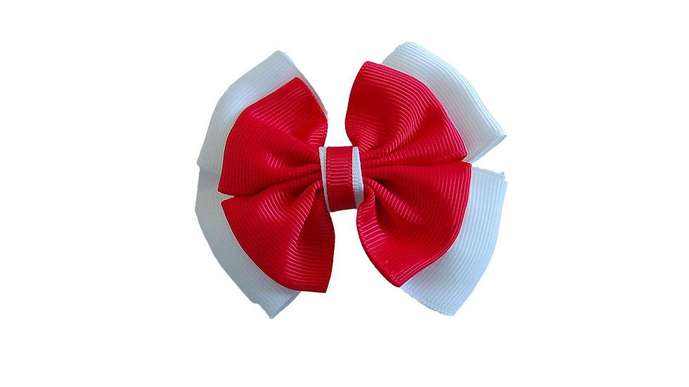 School hair clip red white