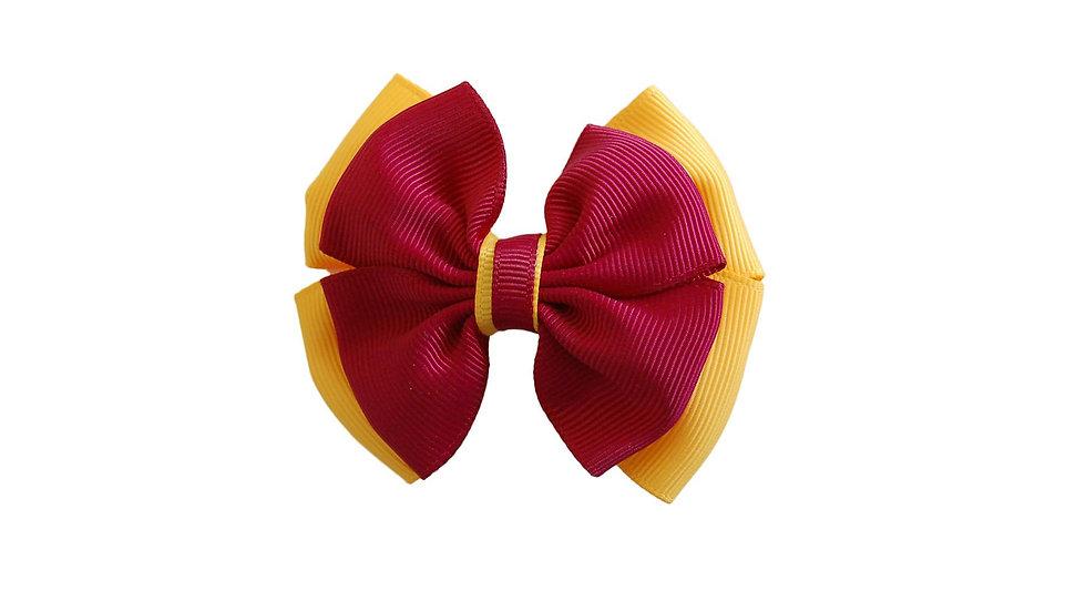 School hair clip maroon yellow