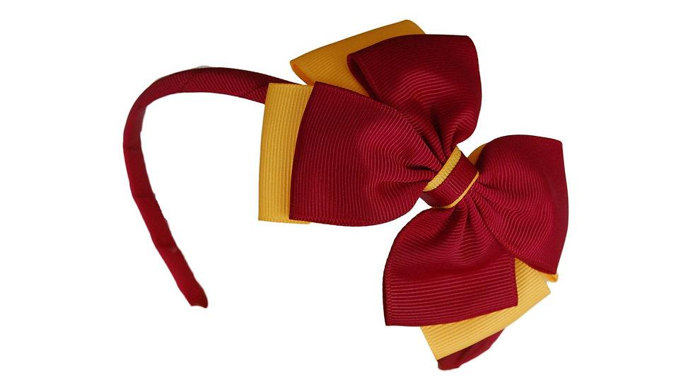 headband maroon yellow