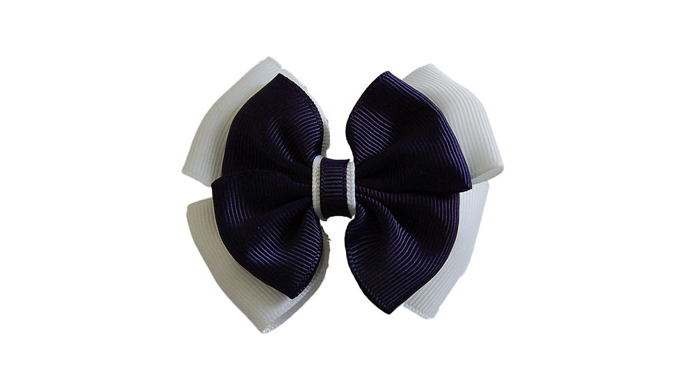 School hair clip navy white