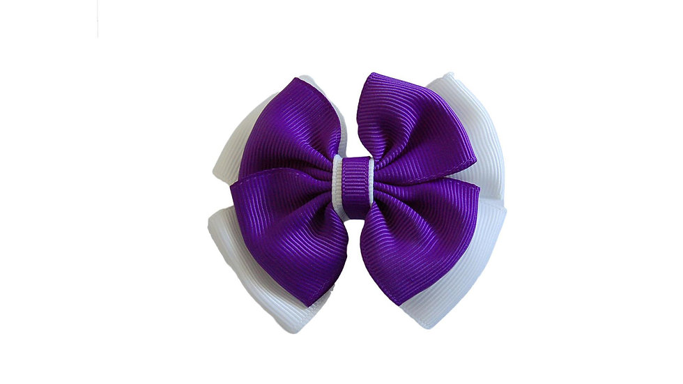 School hair clip purple white