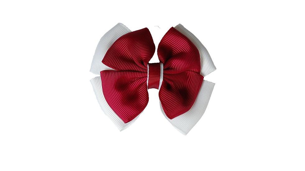 School hair clip maroon white