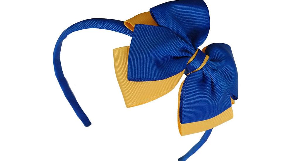 headband royal blue yellow