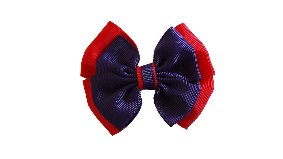 School hair clip royal navy red