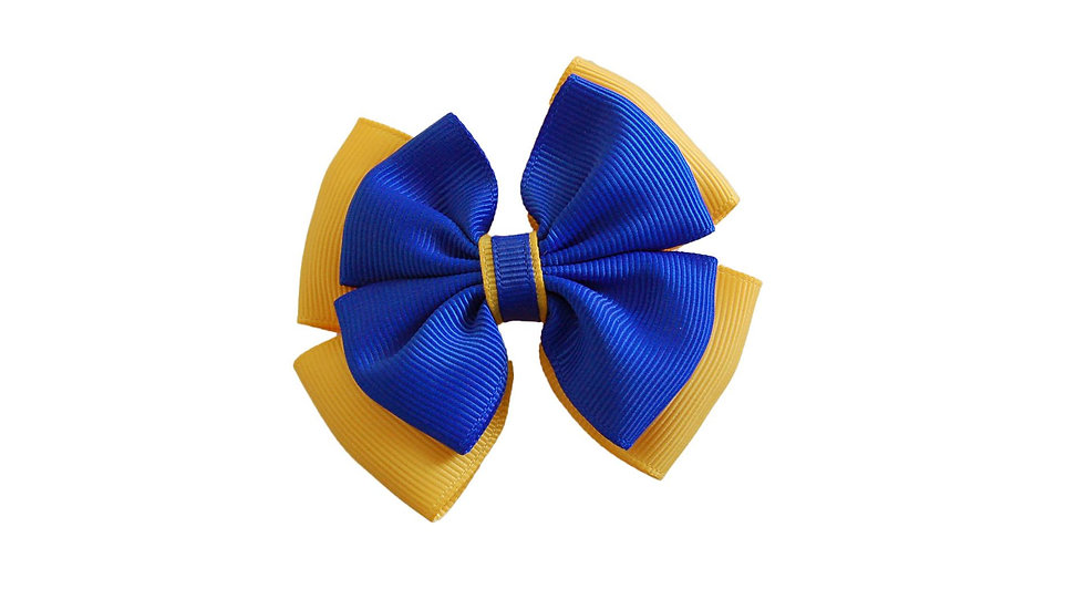 School hair clip royal blue yellow