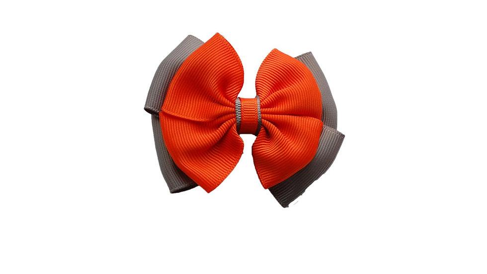 School hair clip orange grey
