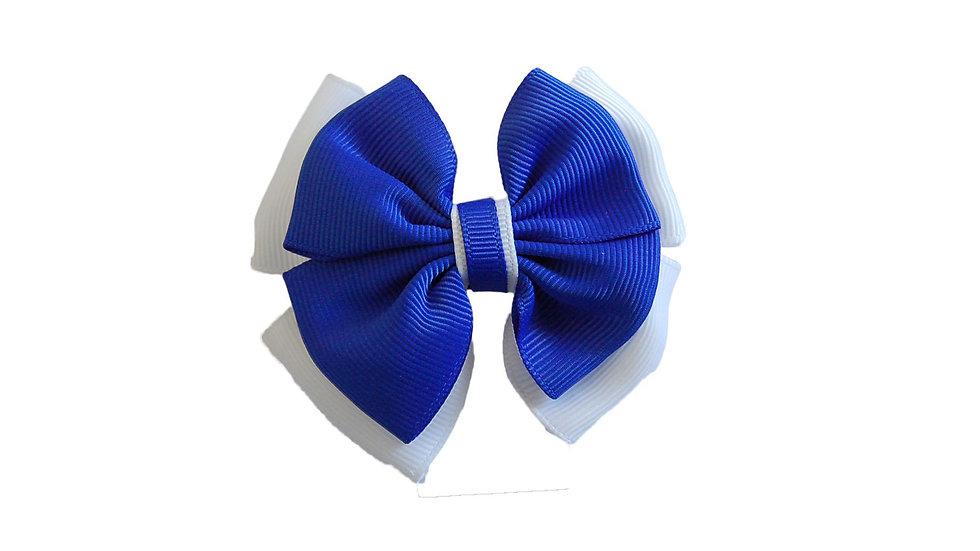 School hair clip royal blue white