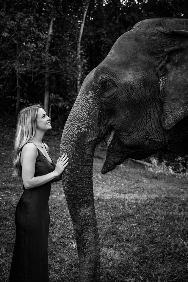 black and white girl elephant trunk
