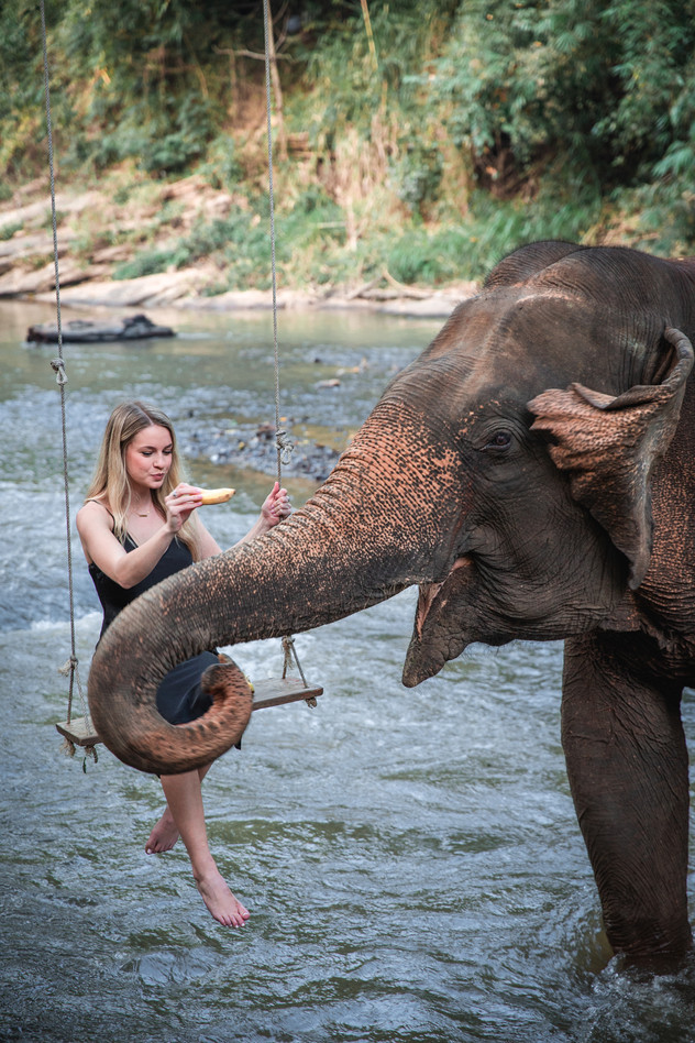Girl and elephant in river