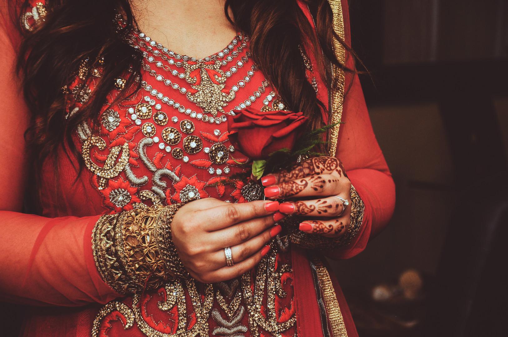 Red sari, red rose