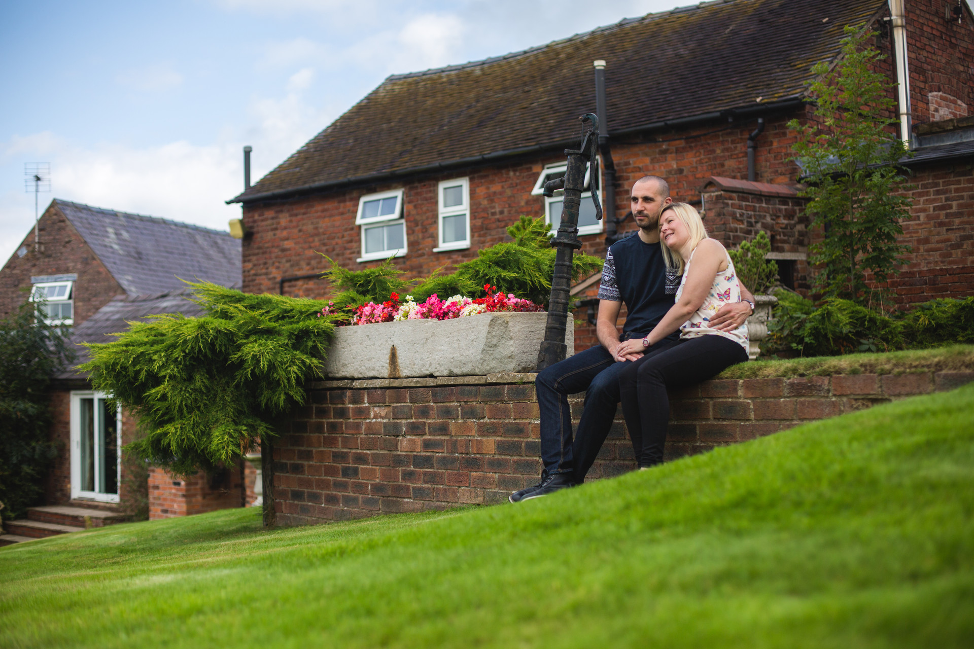 couple look out to english country side