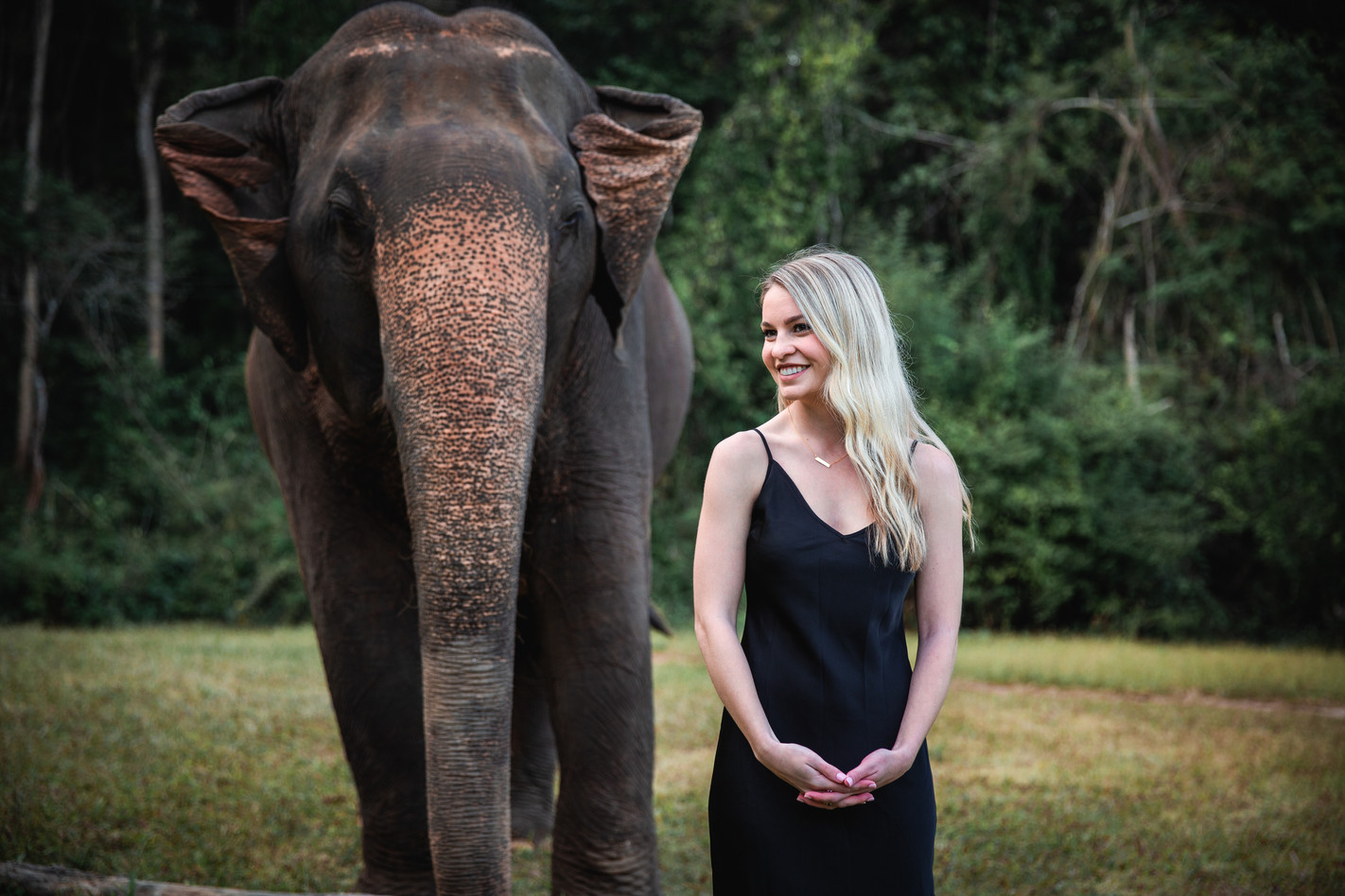 Model and elephant