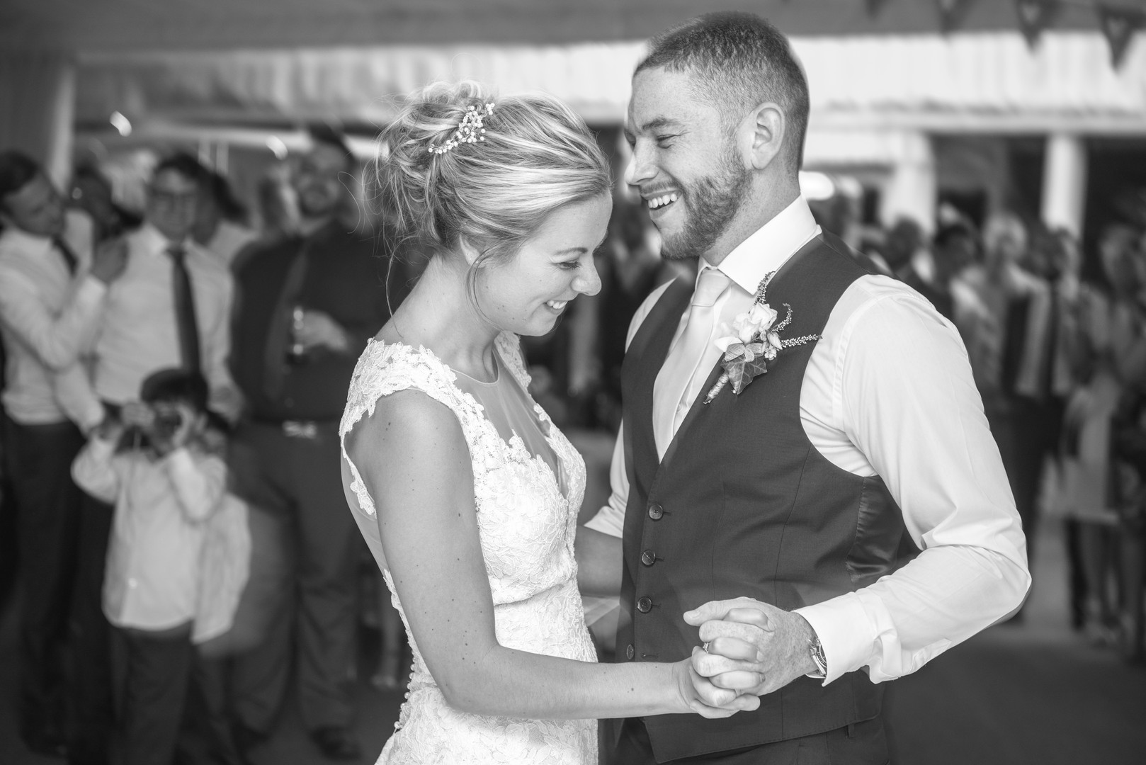 Bride and groom share a moment first dance