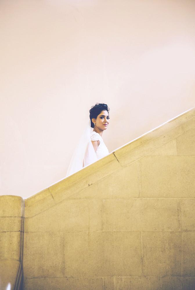 Bride walks up stairs