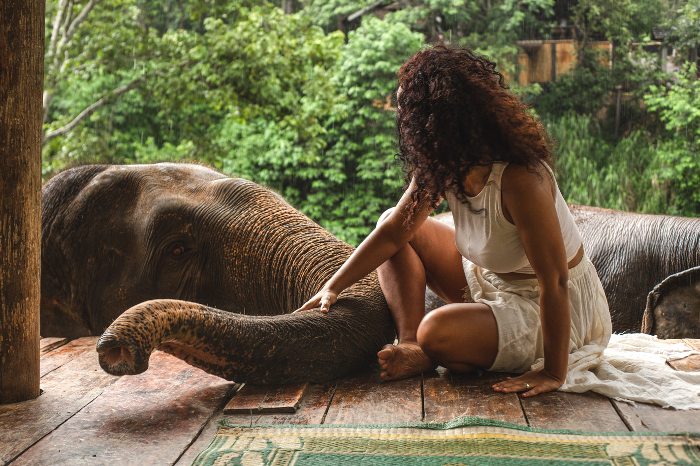 Female plays with elephant