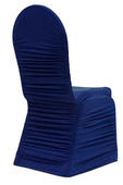 Navy Blue Spandex Ruched Chair Covers