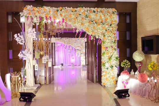 Wedding decoration element. Lights, entr