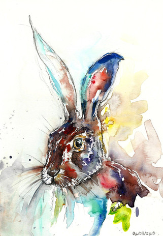 Joey the Hare - Watercolour and Pen